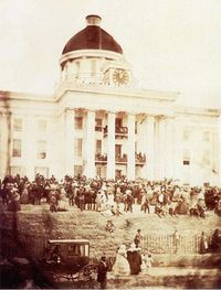 Jefferson Davis announcing confederate constitution