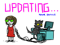 Updating Skills cat cartoon