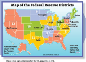 Map of Federal Reserve banks