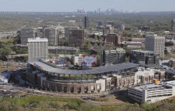 Suntrust Park in Cobb County with Atlanta in background