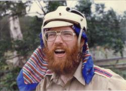 Dana in helmet on bike trip may 1981